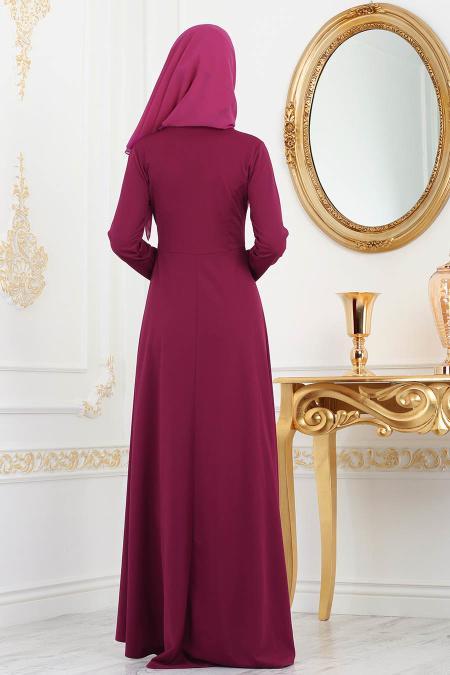 Nayla Collection - Gold Desenli Fuşya Tesettür Elbise 79550F