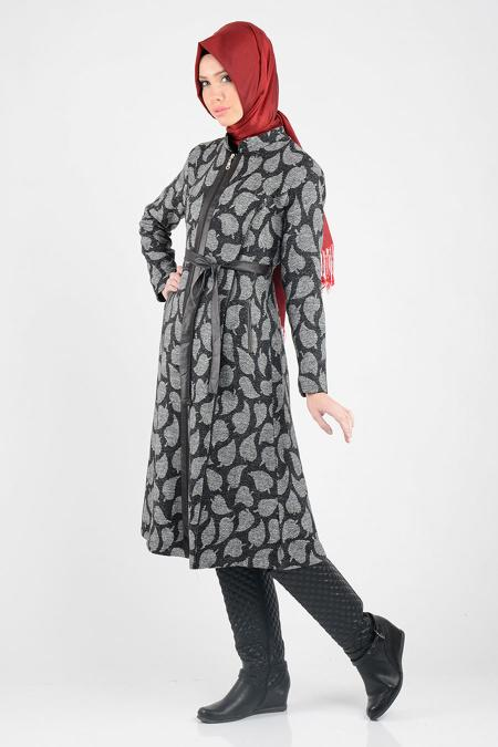 Nayla Collection - Grey Hijab Coat 1022-01GR