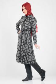 Nayla Collection - Grey Hijab Coat 1022-01GR - Thumbnail