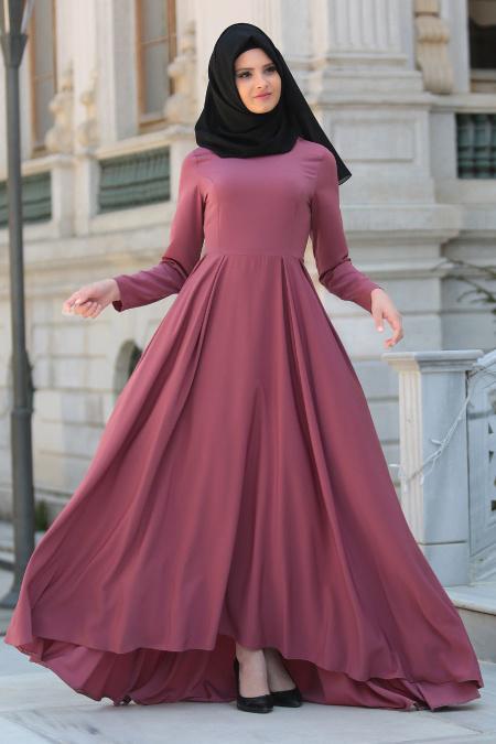 Nayla Collection - Gül Kurusu Tesettür Elbise 61453GK
