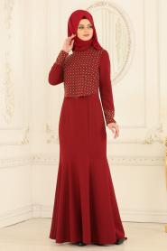 Nayla Collection - Hakim Yaka Bordo Tesettür Abiye Elbise 20020BR - Thumbnail