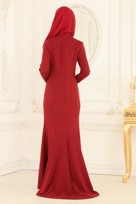 Nayla Collection - Hakim Yaka Bordo Tesettür Abiye Elbise 20020BR