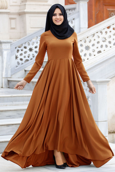 Nayla Collection - Hardal Tesettür Elbise 61453HR