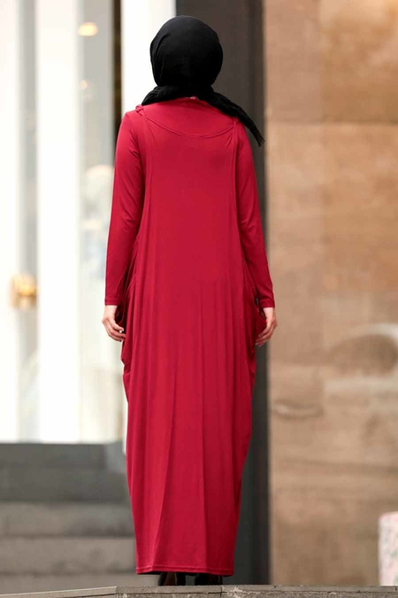 Nayla Collection - İkili Bordo Tesettür Elbise 956BR