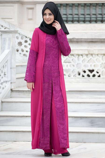 Nayla Collection - İkili Mürdüm Tesettür Takım 52410-01MU