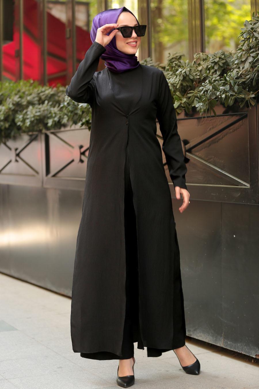 Nayla Collection - İkili Siyah Tesettür Tulum Takım 4145S