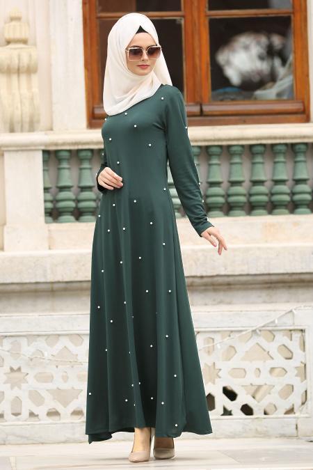 Nayla Collection - İnci Detaylı Yeşil Tesettür Elbise 76340Y