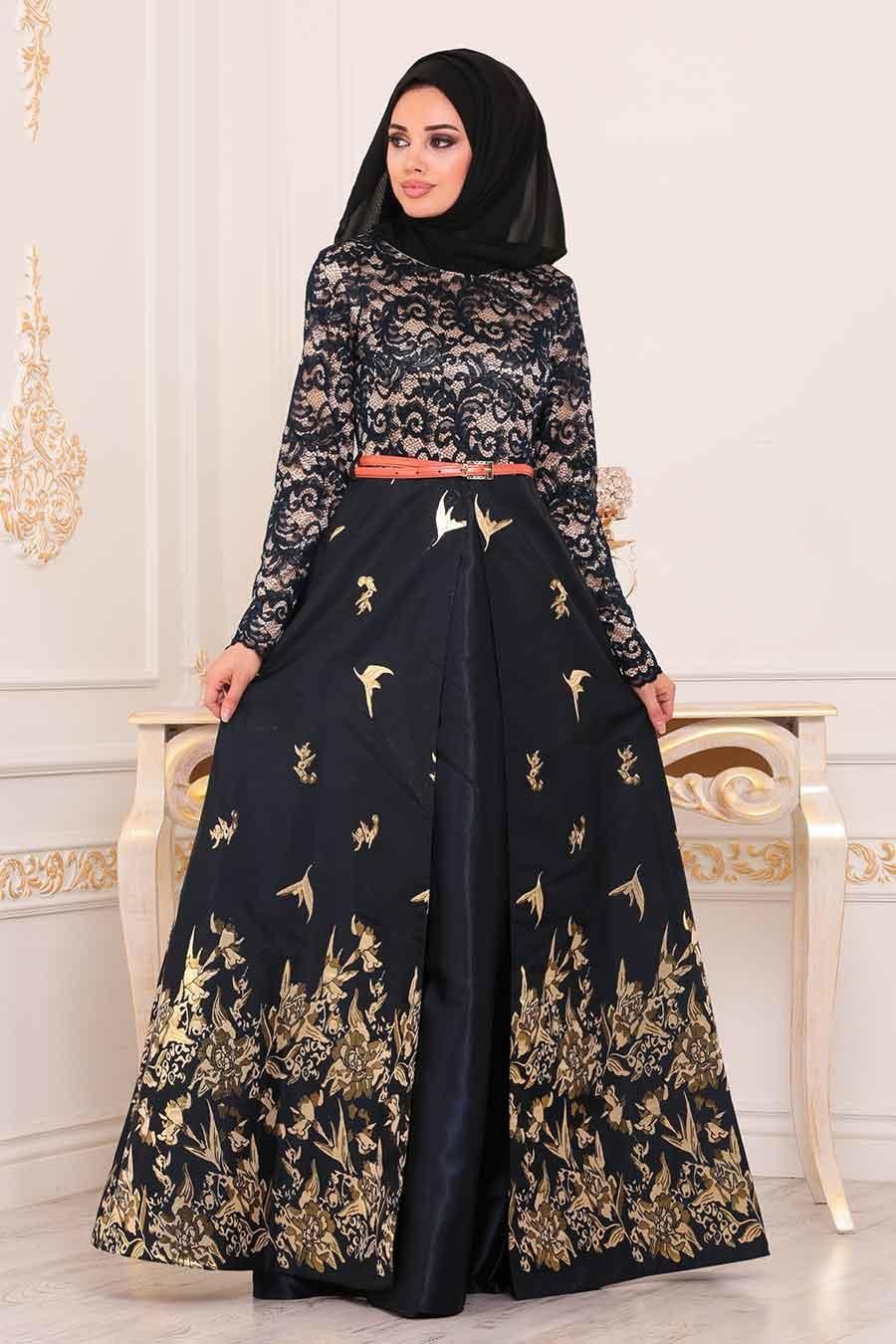 Nayla Collection - Jakarlı Lacivert Tesettür Abiye Elbise 82444L