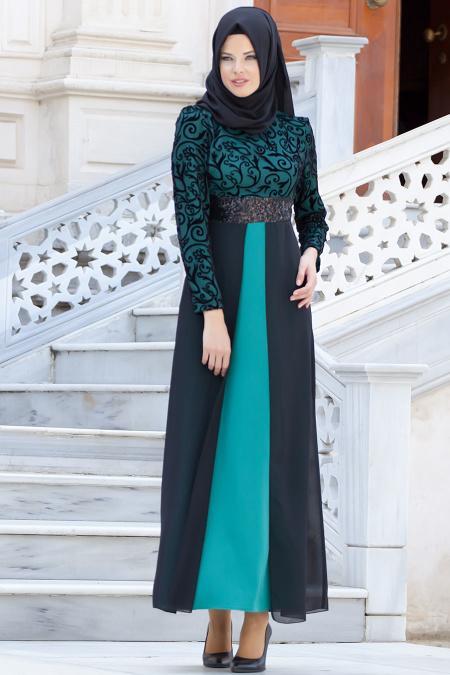 Nayla Collection - Flok Baskılı Çağla Yeşili Tesettür Elbise 4109CY