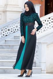 Nayla Collection - Flok Baskılı Çağla Yeşili Tesettür Elbise 4109CY - Thumbnail