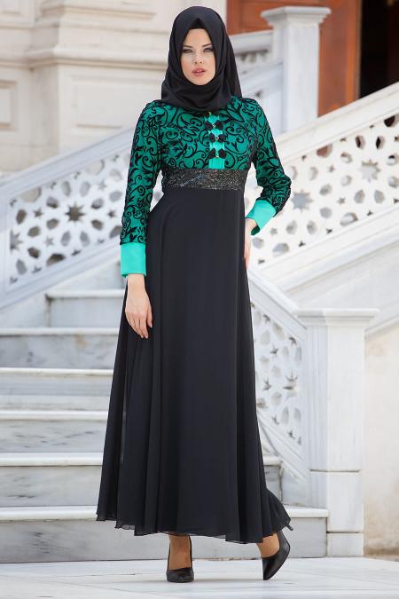 Nayla Collection - Flok Baskılı Mint Tesettür Elbise 4129MINT