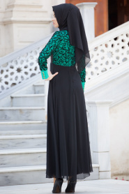 Nayla Collection - Flok Baskılı Mint Tesettür Elbise 4129MINT - Thumbnail