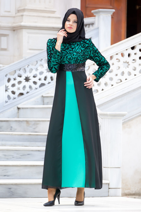 Nayla Collection - Flok Baskılı Mint Tesettür Elbise 4109MINT