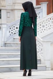 Nayla Collection - Flok Baskılı Mint Tesettür Elbise 4109MINT - Thumbnail