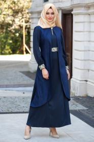 Nayla Collection - Süet Lacivert Elbise - Thumbnail