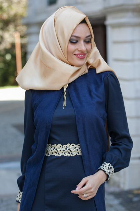 Nayla Collection - Süet Lacivert Elbise