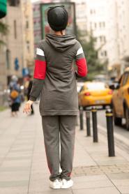 Nayla Collection - Kapşonlu Füme Tesettür Spor Takım 2364FU - Thumbnail