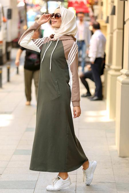 Nayla Collection - Kapşonlu Haki Tesettür Elbise 8011HK