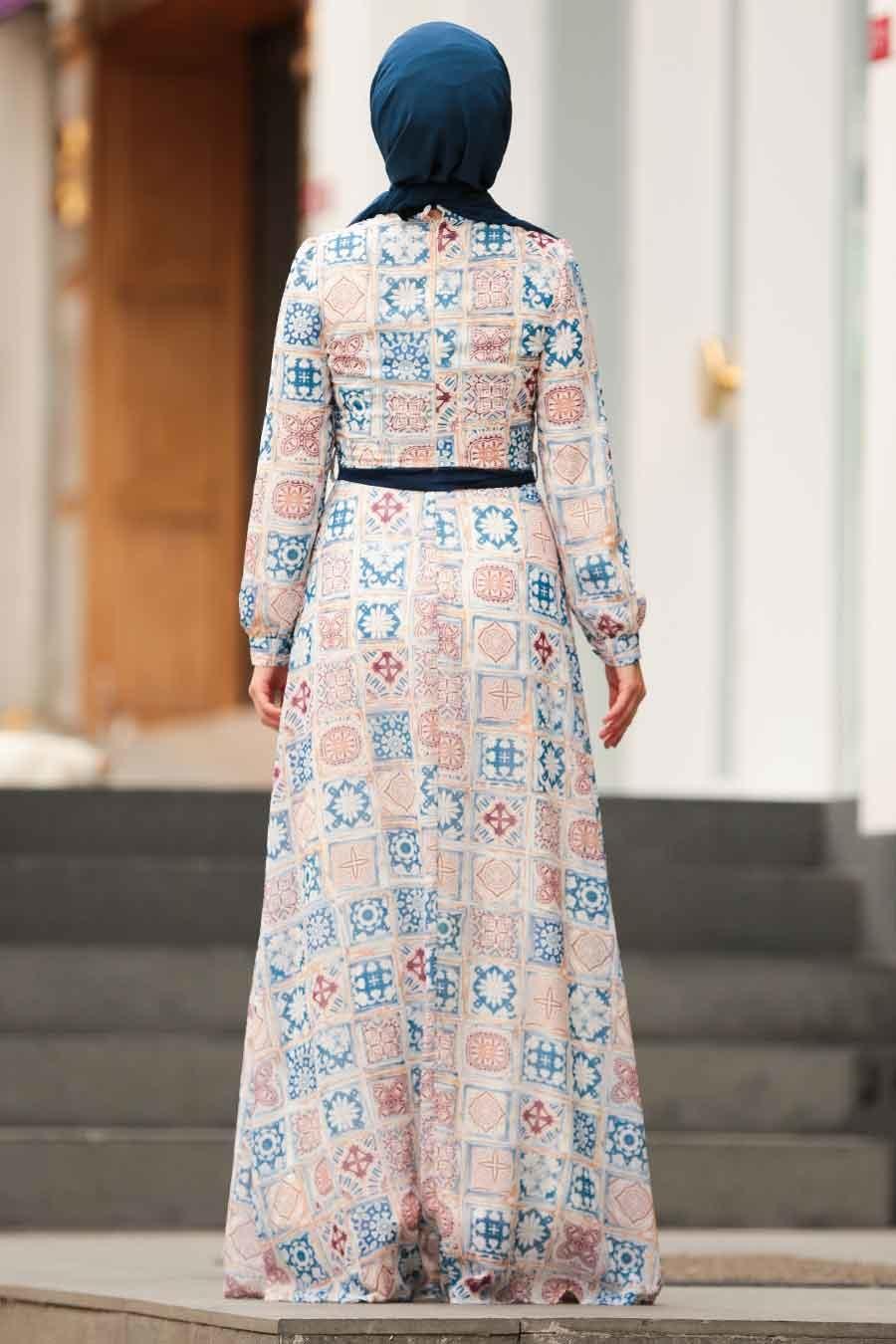 Nayla Collection - Kare Desenli Tesettür Elbise 815224DSN