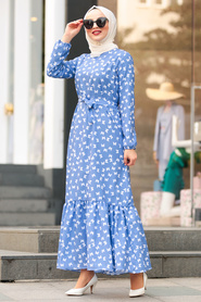 Nayla Collection - Kelebek Desenli İndigo Mavisi Tesettür Elbise 5005IM - Thumbnail
