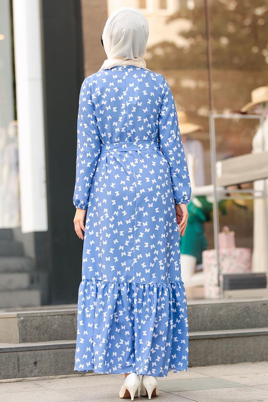 Nayla Collection - Kelebek Desenli İndigo Mavisi Tesettür Elbise 5005IM