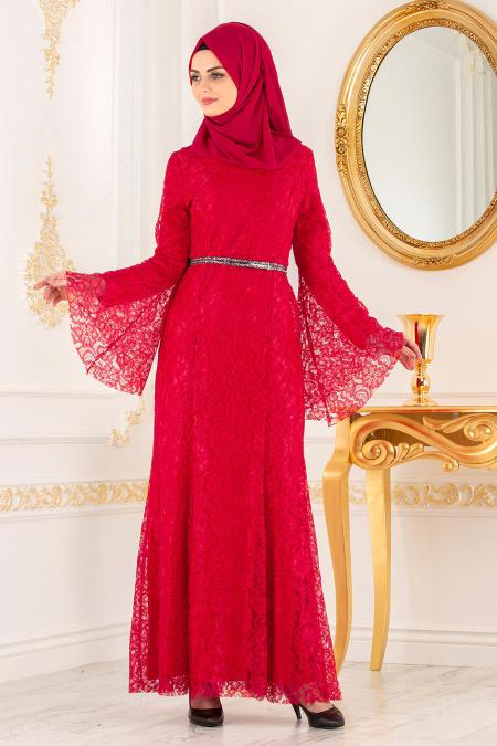 Nayla Collection -Kemer Detaylı Dantelli Kırmızı Tesettür Abiye Elbise 100406K