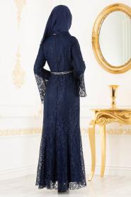 Nayla Collection -Kemer Detaylı Dantelli Lacivert Tesettür Abiye Elbise 100406L - Thumbnail