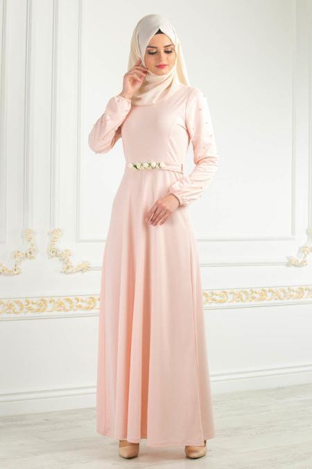 Nayla Collection - Kemeri Çiçekli Pudra Tesettür Elbise 77970PD
