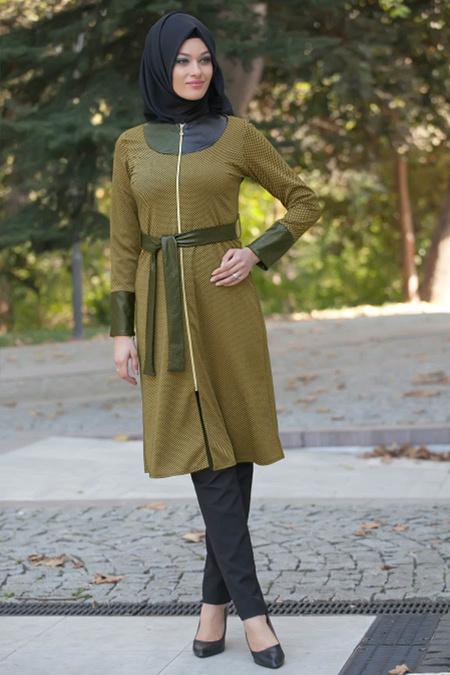 Nayla Collection - Kemerli Asidik Sarı Tesettür Kap 5181ASR