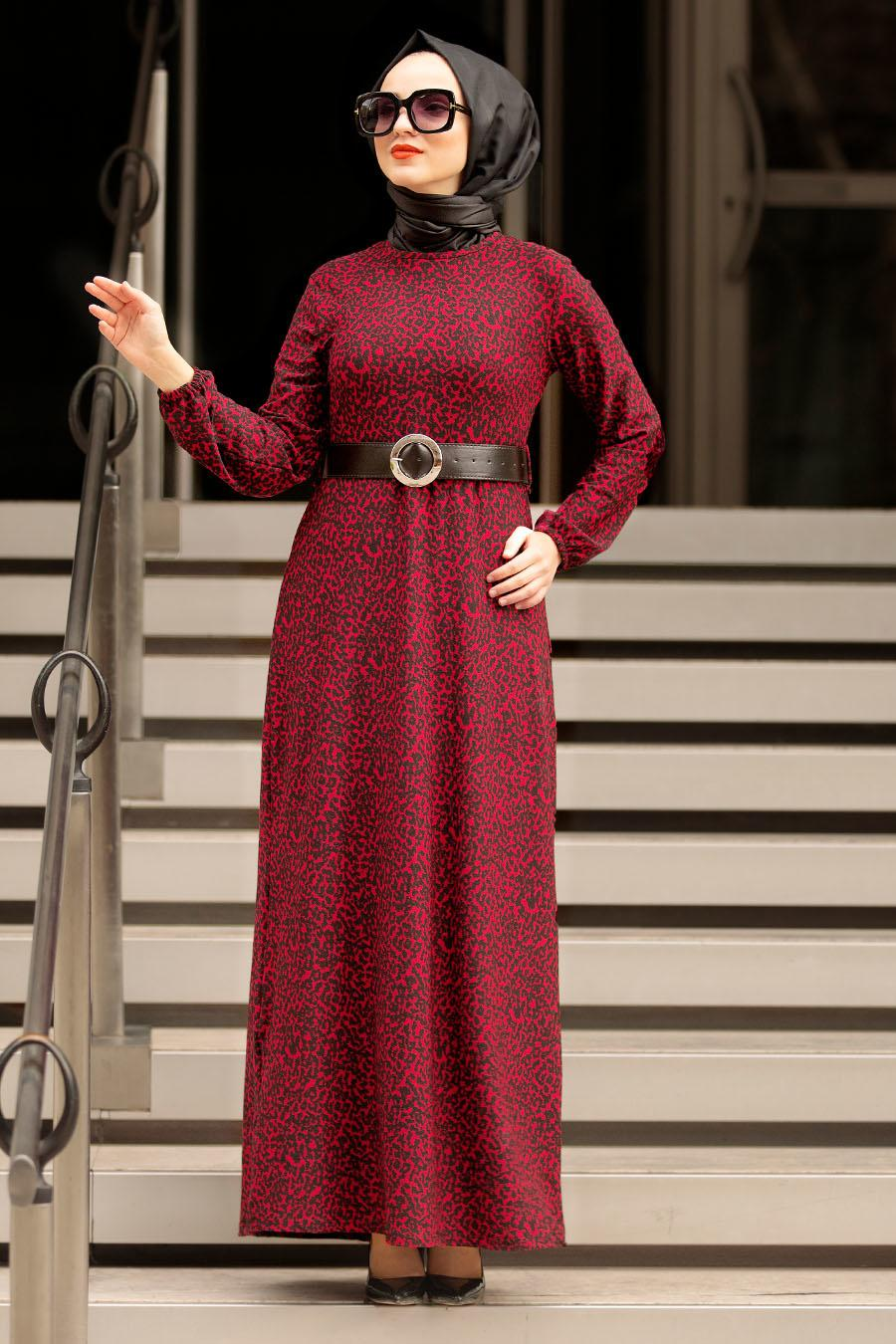 Nayla Collection - Kemerli Bordo Tesettür Elbise 10761BR