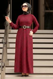 Nayla Collection - Kemerli Bordo Tesettür Elbise 10761BR - Thumbnail