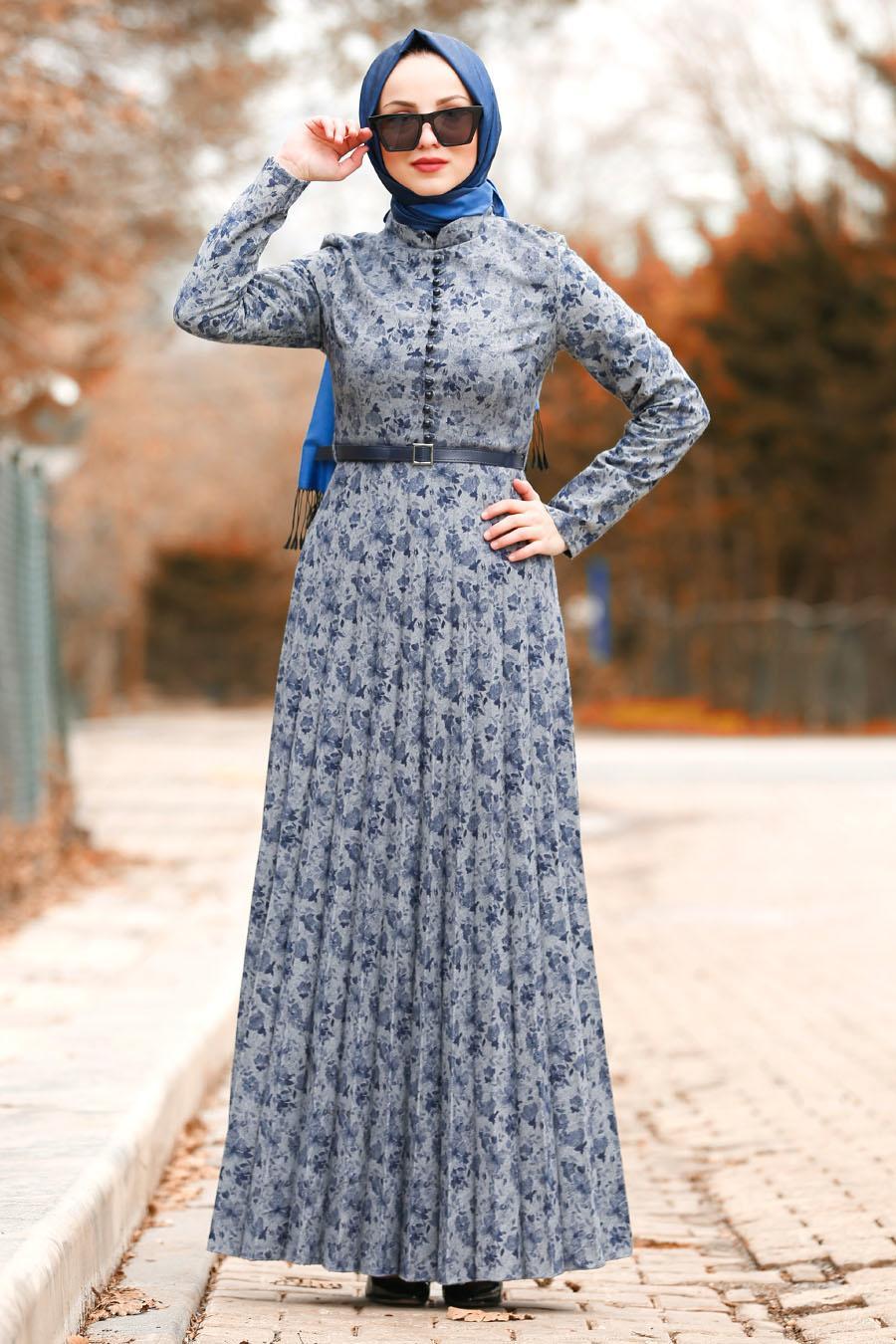 Nayla Collection - Kemerli Gri Tesettür Elbise 8445GR