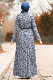 Nayla Collection - Kemerli Gri Tesettür Elbise 8445GR - Thumbnail