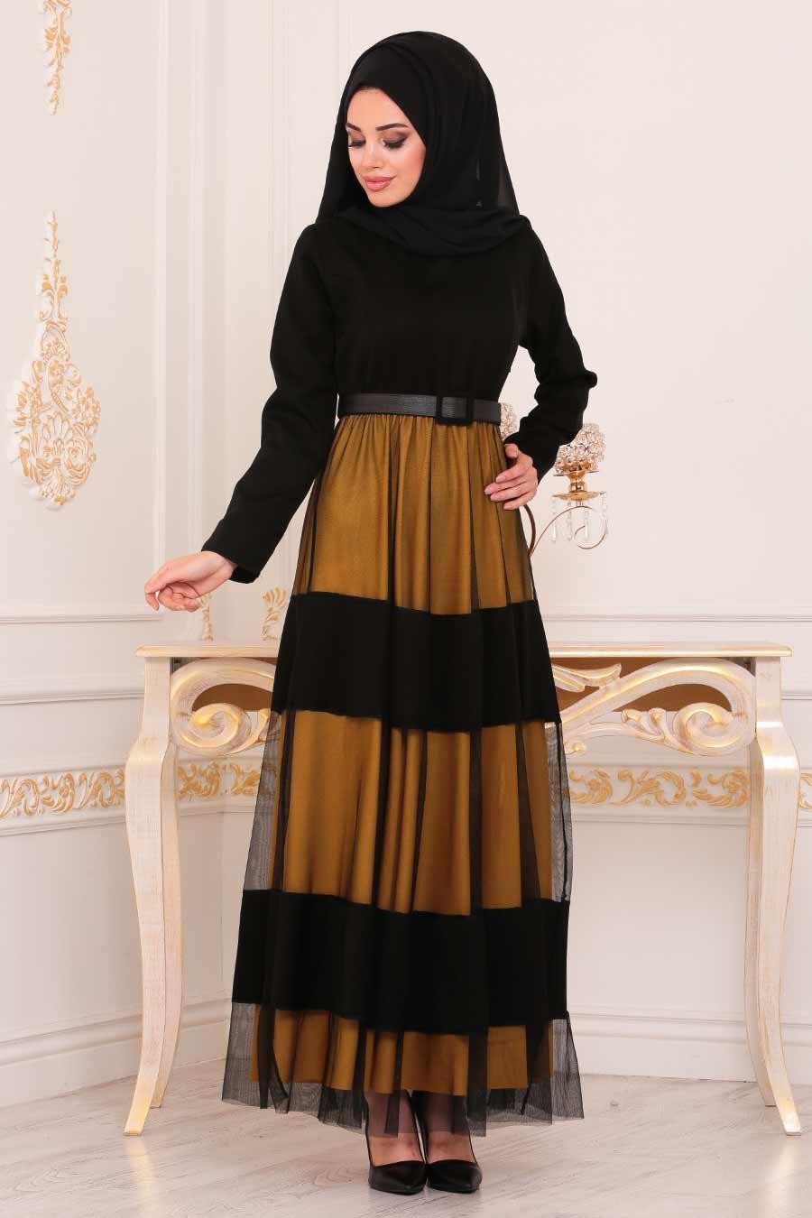 Nayla Collection - Kemerli Hardal Tesettür Elbise 91090HR