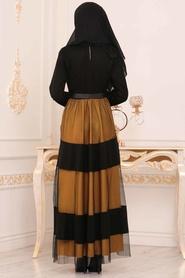 Nayla Collection - Kemerli Hardal Tesettür Elbise 91090HR - Thumbnail