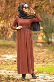Nayla Collection - Kemerli Kiremit Tesettür Elbise 1603KRMT - Thumbnail