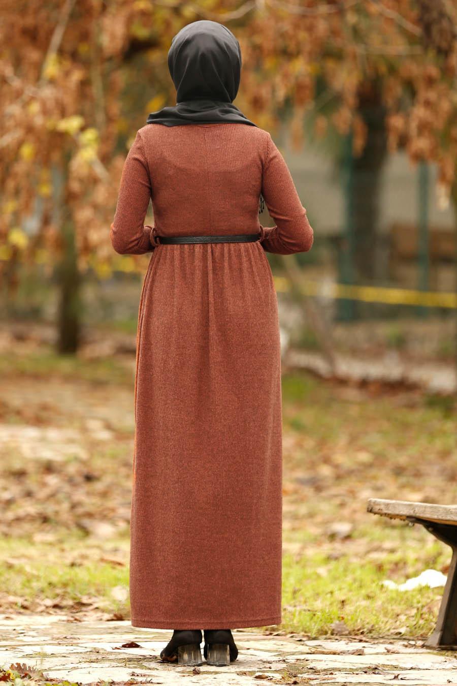 Nayla Collection - Kemerli Kiremit Tesettür Elbise 1603KRMT