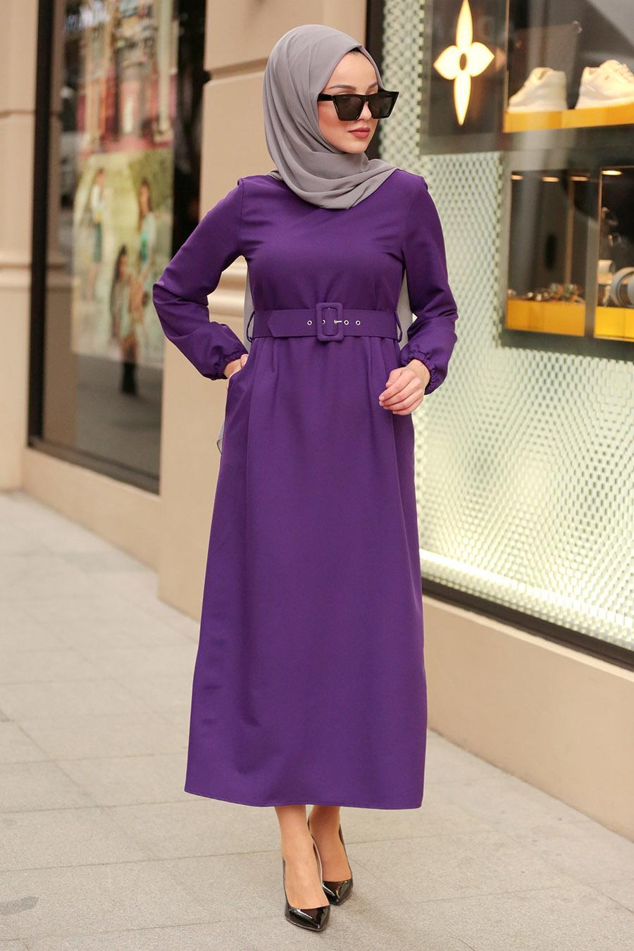 Nayla Collection - Kemerli Mor Tesettür Elbise 21010MOR