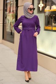 Nayla Collection - Kemerli Mor Tesettür Elbise 21010MOR - Thumbnail