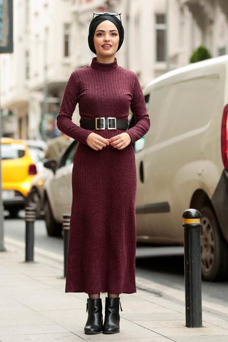 Nayla Collection - Kemerli Mürdüm Tesettür Triko Elbise 3180MU
