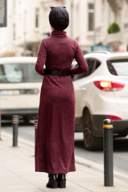 Nayla Collection - Kemerli Mürdüm Tesettür Triko Elbise 3180MU - Thumbnail