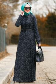 Nayla Collection - Kemerli Siyah Tesettür Elbise 8445S - Thumbnail