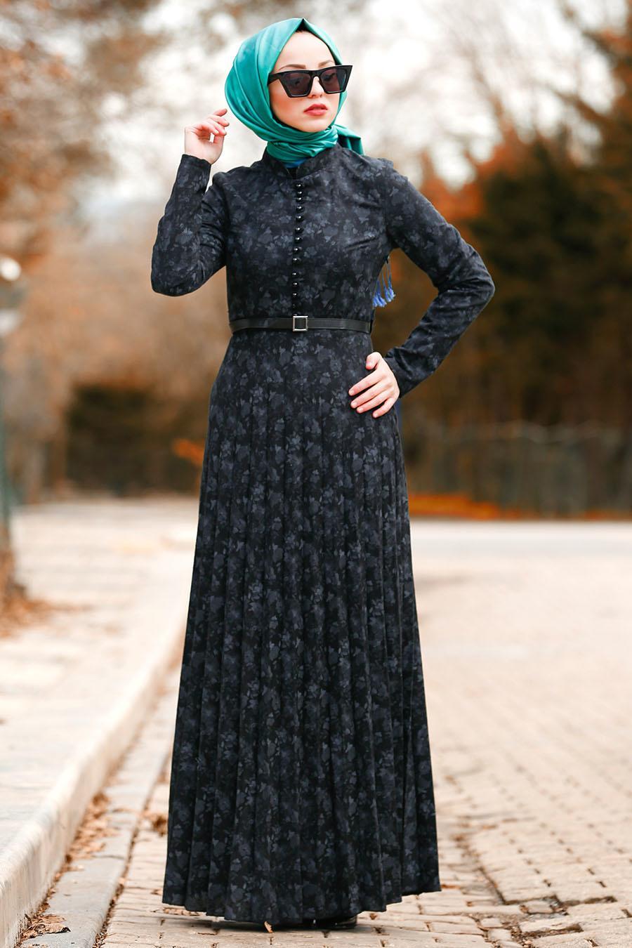 Nayla Collection - Kemerli Siyah Tesettür Elbise 8445S