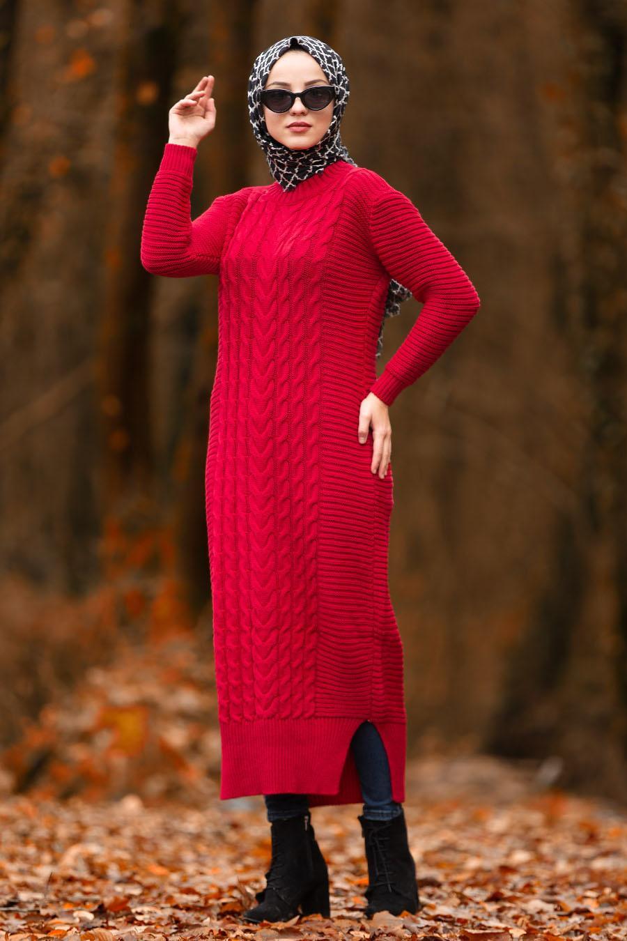Nayla Collection - Kırmızı Tesettür Triko Elbise 2111K