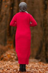 Nayla Collection - Kırmızı Tesettür Triko Elbise 2111K - Thumbnail