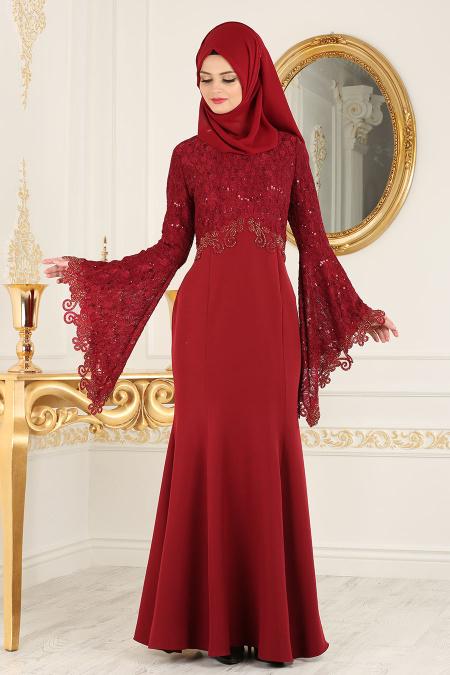 Nayla Collection - Dantel Detaylı Volan Kollu Bordo Tesettür Abiye Elbise 25694BR