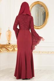 Nayla Collection - Dantel Detaylı Volan Kollu Bordo Tesettür Abiye Elbise 25694BR - Thumbnail