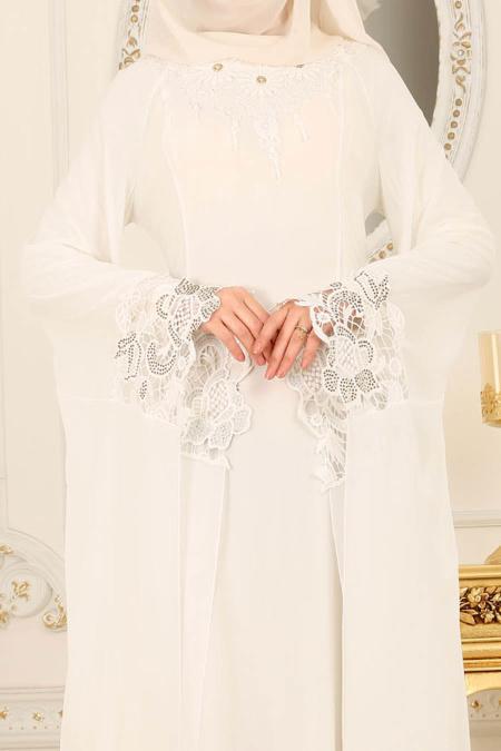 Nayla Collection - Kolları Detaylı Ekru Tesettür Abiye Elbise 25669E