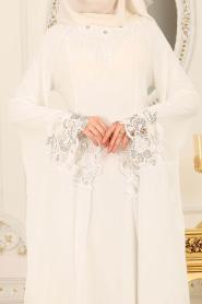 Nayla Collection - Kolları Detaylı Ekru Tesettür Abiye Elbise 25669E - Thumbnail