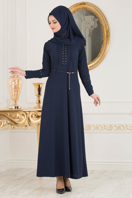 Nayla Collection - Kolları Detaylı Lacivert Tesettür Elbise 10110L